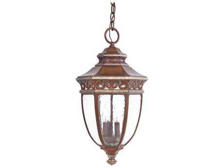 Minka Lavery Castle Ridge Mossoro Walnut with Silver Highlights Three-Light Outdoor Hanging Light