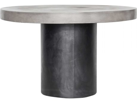 Moe's Home Outdoor Cassius Black 47'' Wide Concrete Round Dining Table PatioLiving