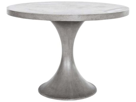 Moe's Home Outdoor Isadora Dark Grey 43'' Wide Concrete Round Dining Table PatioLiving