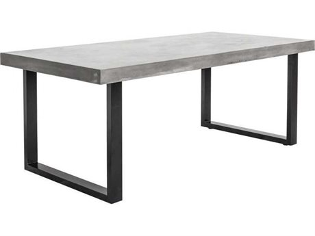 Moe's Home Outdoor Jedrik Dark Grey 79''W x 40''D Rectangular Outdoor Dining Table Large PatioLiving