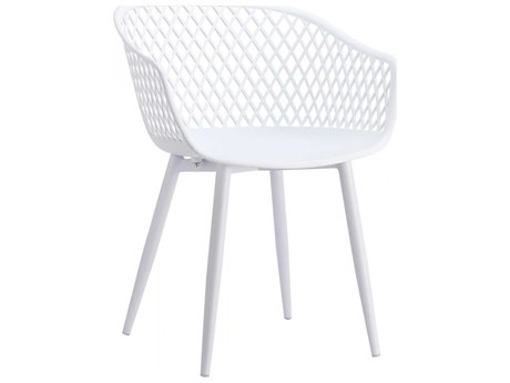 Moe's Home Outdoor Piazza White Aluminum Recycled Plastic Dining Chair (Set of 2)