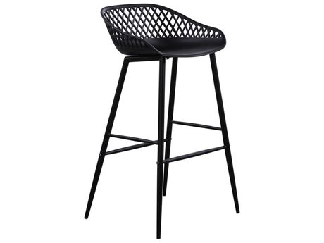 Moe's Home Outdoor Piazza Outdoor Bar Stool Black (Set of 2) PatioLiving