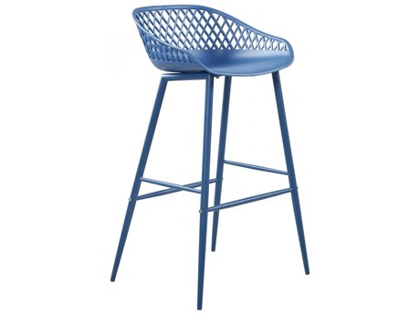 Moe's Home Outdoor Piazza Blue Aluminum Recycled Plastic Bar Stool (Set of 2) PatioLiving