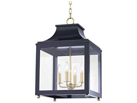 Mitzi Leigh Aged Brass / Navy Four-Light 16'' Wide Mini Chandelier
