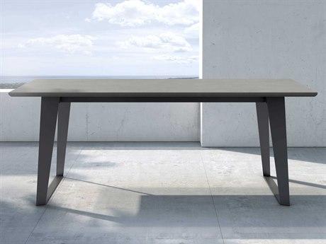Modloft Outdoor Amsterdam Gray Concrete 79'' Wide Steel Rectangular Dining Table PatioLiving