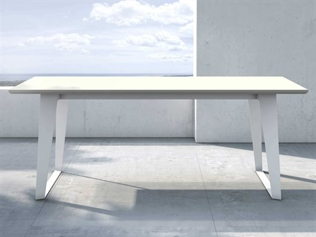 Modloft Outdoor Amsterdam White Sand Concrete 79'' Wide Steel Rectangular Dining Table PatioLiving