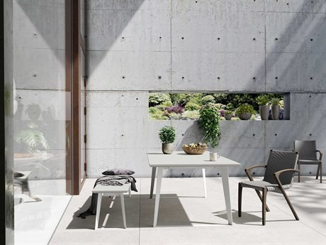 Modloft Outdoor Amsterdam Concrete Steel Dining Set PatioLiving