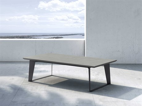 Modloft Outdoor Amsterdam Gray Concrete 55'' Wide Steel Rectangular Coffee Table PatioLiving