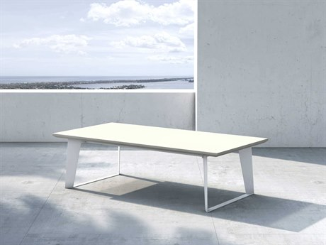 Modloft Outdoor Amsterdam White Sand Concrete 55'' Wide Steel Rectangular Coffee Table PatioLiving