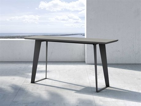 Modloft Outdoor Amsterdam Gray Concrete 59'' Wide Steel Rectangular Console Table PatioLiving
