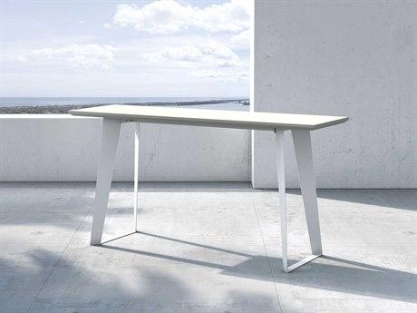 Modloft Outdoor Amsterdam White Sand Concrete 59'' Wide Steel Rectangular Console Table PatioLiving
