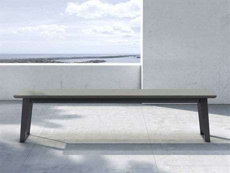 Modloft Outdoor Amsterdam Gray Concrete Steel Bench PatioLiving
