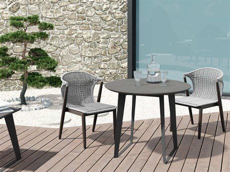 Modloft Outdoor Amsterdam Gray Concrete 36'' Wide Steel Round Bistro Table PatioLiving
