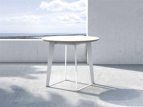 Modloft Outdoor Amsterdam White Sand Concrete 36'' Wide Steel Round Bistro Table PatioLiving