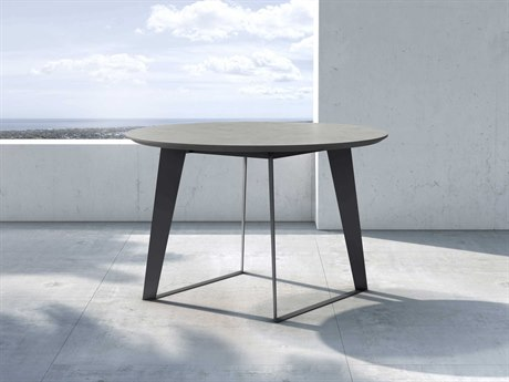 Modloft Outdoor Amsterdam Gray Concrete 47'' Wide Steel Round Dining Table PatioLiving