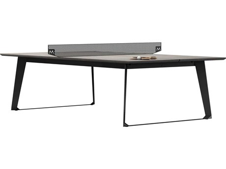 Modloft Outdoor Amsterdam Gray Concrete 108'' Wide Steel Rectangular Dining Table / Ping Pong Table PatioLiving