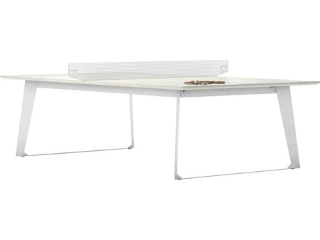 Modloft Outdoor Amsterdam White Sand Concrete 108'' Wide Steel Rectangular Dining Table / Ping Pong Table PatioLiving