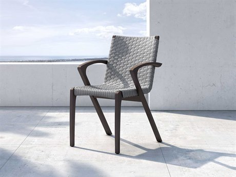 Modloft Outdoor Verge Light Gray Cord Dining Arm Chair (Sold in 2) PatioLiving