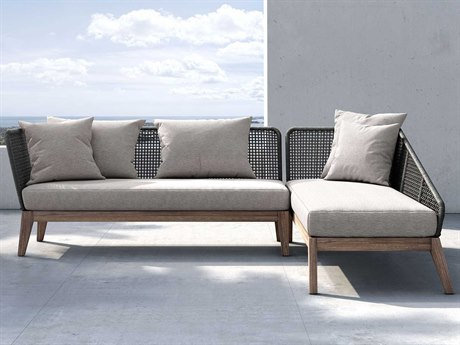 Modloft Outdoor Netta Feather Gray Right Facing Sectional Sofa PatioLiving