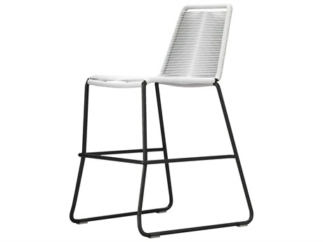 Modloft Outdoor Barclay White Cord Steel Wicker Counter Stool PatioLiving