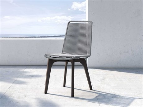 Modloft Outdoor Laced Light Gray Cord / Dark Eucalyptus Dining Side Chair (Sold in 2) PatioLiving