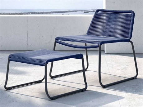 Modloft Outdoor Barclay Blue Cord Steel Wicker Lounge Chair with Ottoman PatioLiving