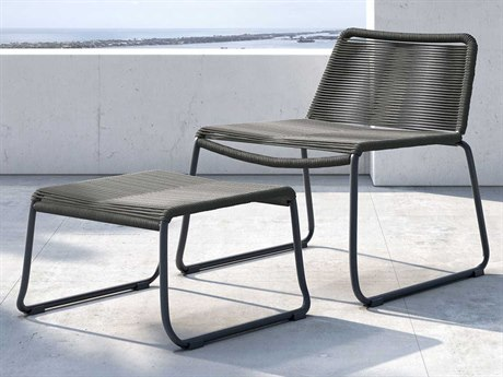 Modloft Outdoor Barclay Dark Gray Cord Steel Wicker Lounge Chair with Ottoman PatioLiving