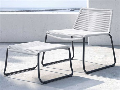 Modloft Outdoor Barclay White Cord Steel Wicker Lounge Chair with Ottoman PatioLiving