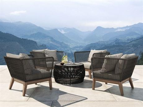 Modloft Outdoor Netta Feather Gray Wood Wicker Cushion Lounge Chair PatioLiving