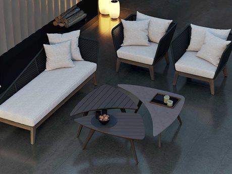 Modloft Outdoor Netta Fabric Wicker Wood Cushion Lounge Set PatioLiving