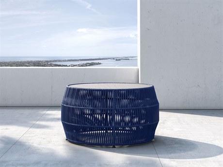 Modloft Outdoor Volta Blue Cord 32'' Wide Concrete Wicker Round Coffee Table PatioLiving
