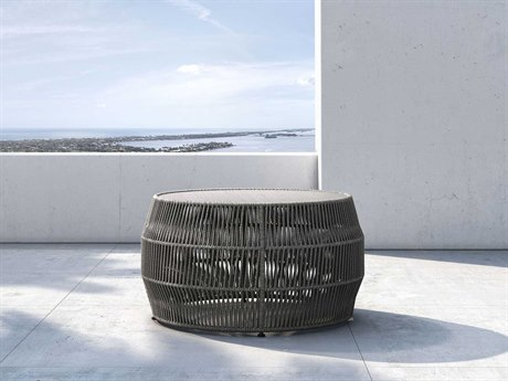 Modloft Outdoor Volta Shades Of Gray Cord 32'' Wide Concrete Wicker Round Coffee Table PatioLiving