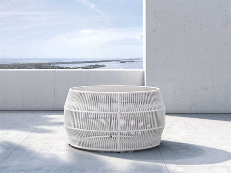 Modloft Outdoor Volta White Cord 32'' Wide Concrete Wicker Round Coffee Table PatioLiving