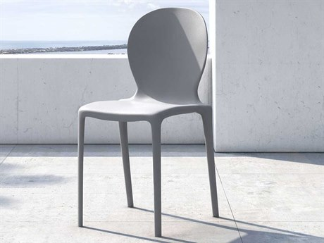 Modloft Outdoor Vieste Blue Gray Recycled Plastic Dining Chair