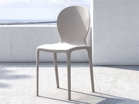 Modloft Outdoor Vieste Mother Of Pearl Recycled Plastic Dining Chair (Sold in 2)