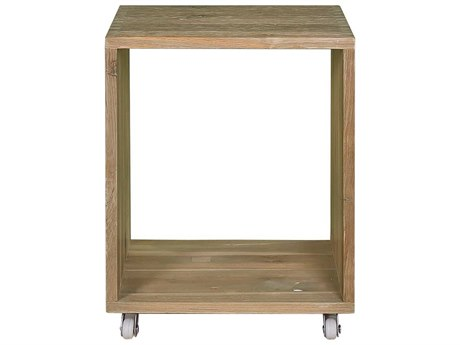 Mamagreen Aiko Teak 17''Wide Square Rolling End Table