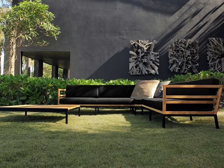 Mamagreen Zudu Aluminum Steel Teak Cushion Lounge Set