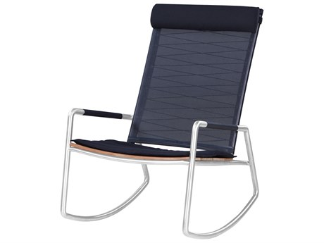 Mamagreen Meika Steel Teak Rocker Lounge Chair