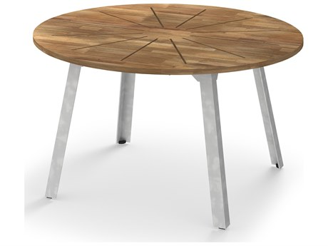 Mamagreen Industrial Aluminum 53''Wide Round Dining Table