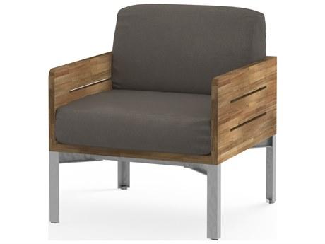 Mamagreen Industrial Aluminum Teak Cushion Lounge Chair