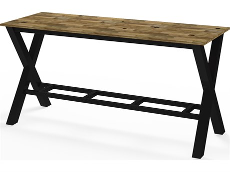 Mamagreen Industrial Aluminum 86''W x 31''D Rectangular X-Style Bar Table