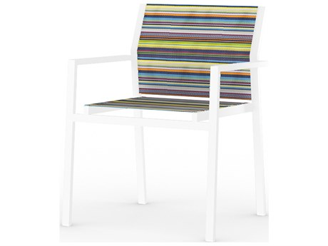 Mamagreen Stripe Aluminum Sling Stackable Dining Arm Chair