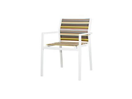Mamagreen Stripe Aluminum Sling Stackable Dining Arm Chair (Quick Ship)