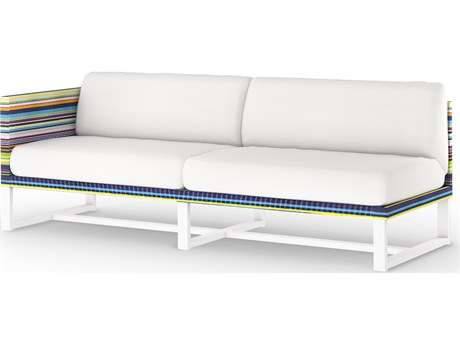 Mamagreen Stripe Aluminum Cushion Modular Right Arm Loveseat