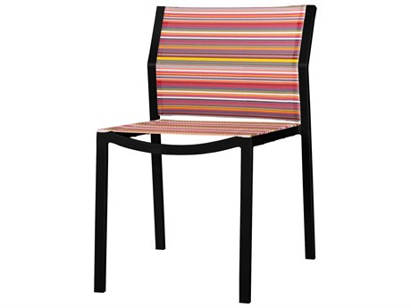 Mamagreen Stripe Aluminum Sling Stackable Dining Side Chair