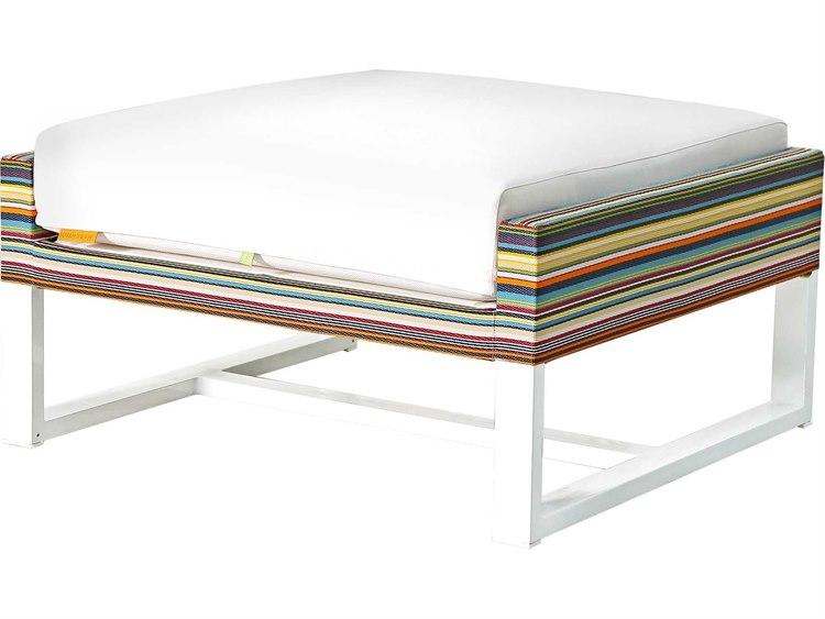 Mamagreen Stripe Aluminum Cushion Ottoman PatioLiving