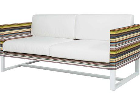 Mamagreen Stripe Aluminum Cushion Loveseat (Quick Ship)