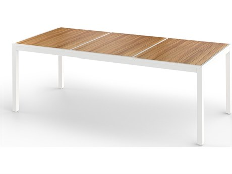 Mamagreen Allux Aluminum 86''W x 39''D Rectangular Abstract Slats Top Dining Table