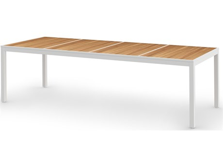 Mamagreen Allux Aluminum 106''W x 39''D Rectangular Abstract Slats Top Dining Table