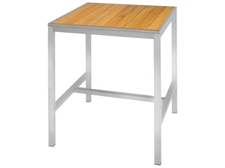 Mamagreen Zix Steel 31''Wide Square Straight Slat Top Bar Table